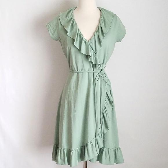 Sage Green Wrap Dress